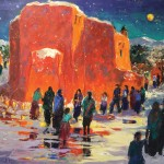 Evelyne Boren, Candlelight Procession, oil, 30 x 40.