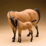 Star Liana York, Horse Whispers, bronze, 12 x 15 x 9.
