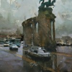 Tibor Nagy, The Monument, oil, 20 x 16.