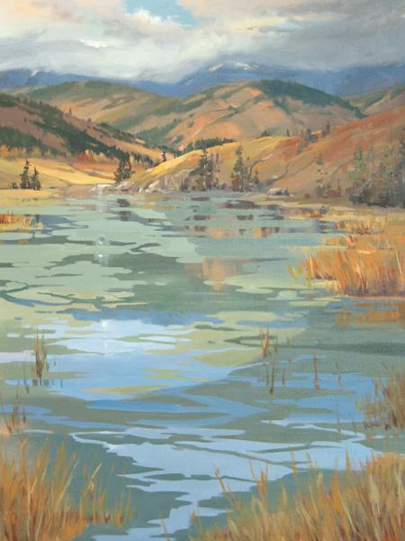 Kathryn Weisberg, Fall Reflections, oil, 40 x 30.