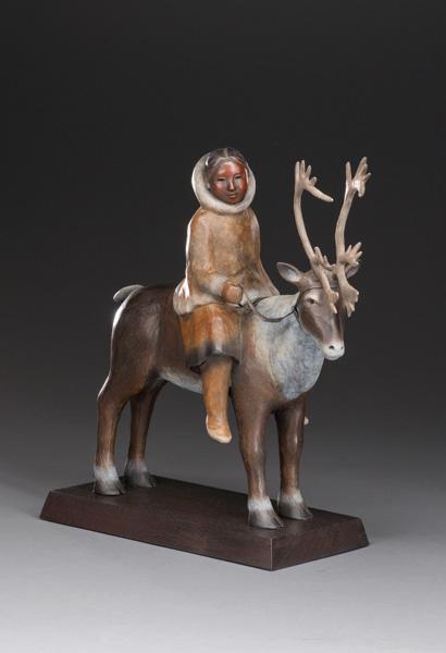 Liz Wolf, A Gentle Rein, bronze, 17 x 17 x 7.