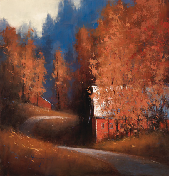 Romona Youngquist, Autumn Barn, oil, 40 x 40.