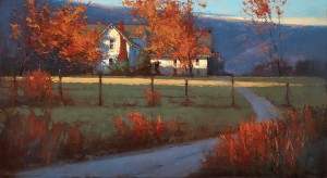 Romona Youngquist, Dundee Farm in October, oil, 30 x 55.