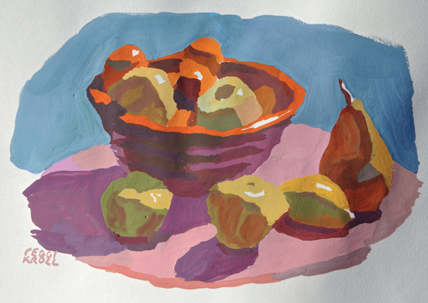 Peggi Kroll-Roberts, Fruit on Table, gouache, 6 x 8.