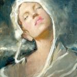 Osiris Rain, Girl in a White Hat, oil, 14 x 11.