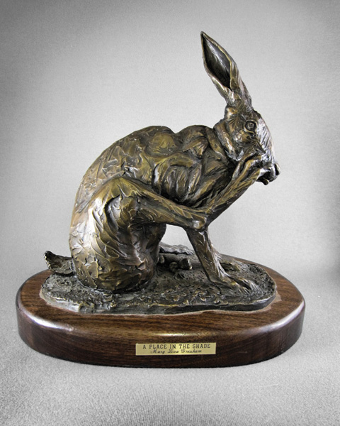 Mary Lou Gresham, A Place in the Shade, bronze, 12 x 11 x 8.