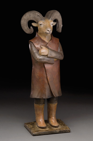 Liz Wolf, Mountain Dweller, bronze, 19 x 7 x 5.