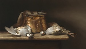 Sarah Lamb, Partridges and Copper, oil, 20 x 35.