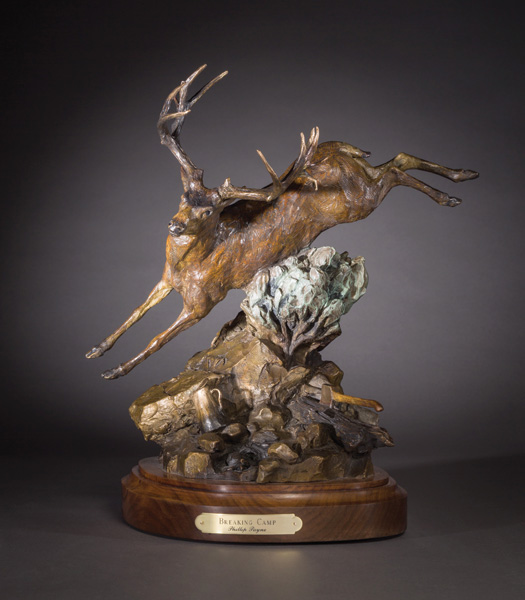 Phillip Payne, Breaking Camp, bronze, 17 x 14 x 12.
