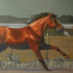 William Ersland, Racin' the Super Chief, acrylic, 24 x 36.