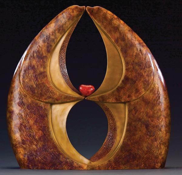 Carolyn Hansen Sato, Infinite Kiss, bronze/carnelian, 19 x 18 x 6.