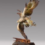 Greg Woodard, Ricochet, bronze, 64 x 36 x 30.
