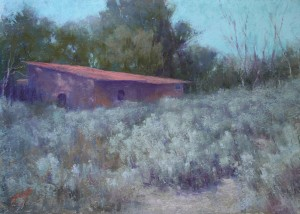 Sabrina Stiles, Red Roof Taos, pastel, 12 x 16.