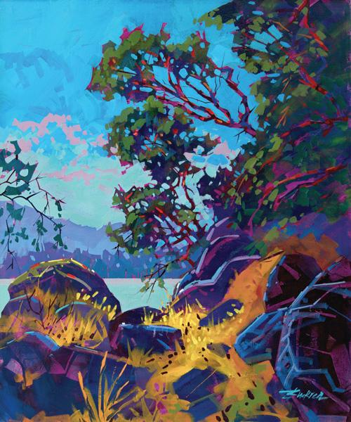 Brian Buckrell, Gulf Island Shoreline, acrylic, 36 x 30.