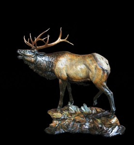 Ed Natiya, Echoes From the High Country, bronze, 23 x 18 x 10.