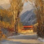 Peggy Immel, Feliz Navidad, oil, 6 x 6.
