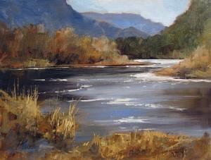 Peggy Immel, Lazy Rio Grande, oil, 9 x 12.