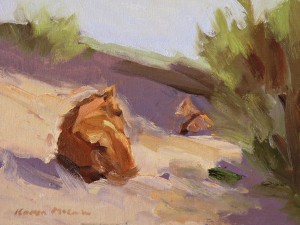 Karen McLain, Nap in the Sand, oil, 9 x 12.