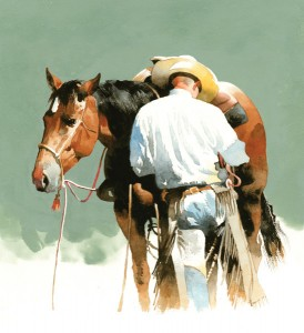 Don Weller, Next the Bridle, watercolor, 12 x 12.