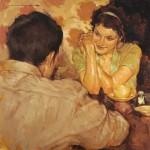Joseph Lorusso, Smitten, oil, 16 x 16.
