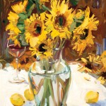 John Moyers, Sunflowers & Wine, oil, 24 x 20.