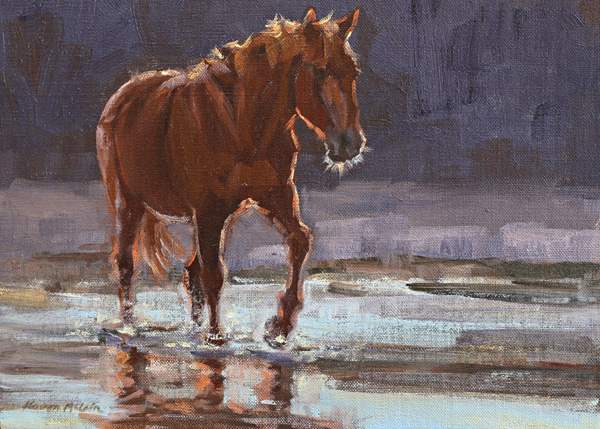 Karen McLain, Sunset in Shallow Water, oil, 9 x 12.