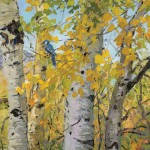 Carol Swinney, Blue Jay in Aspens, oil, 10 x 8.