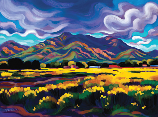 Tracy Turner, Field of Yellow, Taos Valley, oil, 18 x 24.