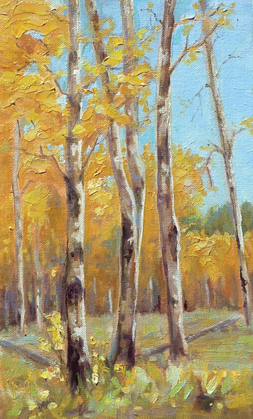 Cynthia Underwood, In the Grove, oil, 10 x 6.