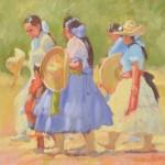 Cheryl Koen, The Hat Parade, oil, 20 x 24.