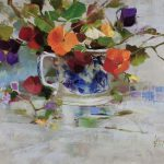 Blue Cup and Pansies by Richard Schmid.