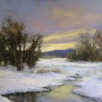 Jane Hunt, Frozen Creek, oil, 16 x 20.