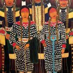 Kevin Red Star, Crow Indian Fair Dancers, acrylic, 60 x 48.