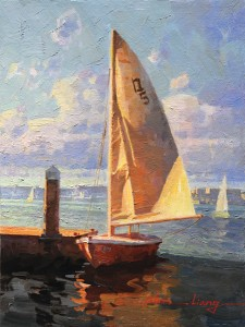 Calvin Liang, Breeze, Newport Beach, oil, 12 x 9.