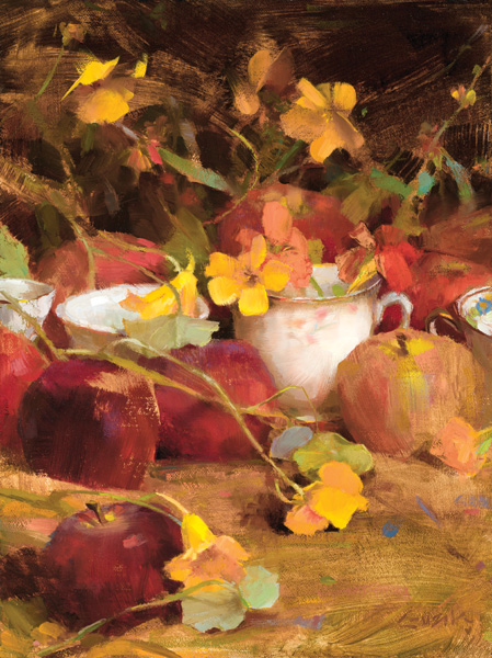 Nancy Guzik, Flowers, Teacups, and Apples, oil, 12 x 9.