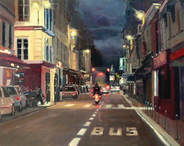 Philippe Gandiol, Close to Midnight, Early Summer in Paris, oil, 24 x 30.