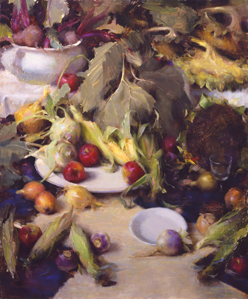 Nancy Guzik, Harvest Feast, oil, 40 x 30.