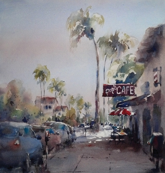 Julie Hill, Pop's Cafe, Santa Ana, watercolor, 12 x 12.