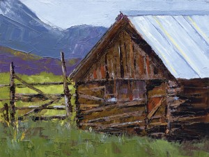 Jeanette Stutzman, The Barn, oil, 9 x 12.