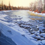 Patrick Duke, Blue River Bend, oil, 30 x 40.