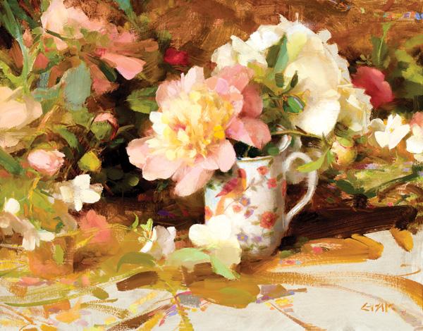 Nancy Guzik, Peony Tea, oil, 11 x 14.