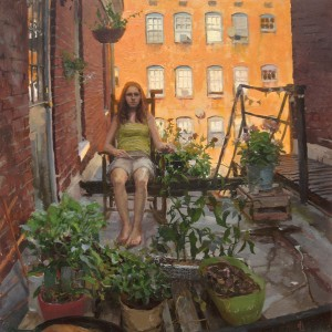 Daniel Robbins, Alli in the Garden, oil, 20 x 20.