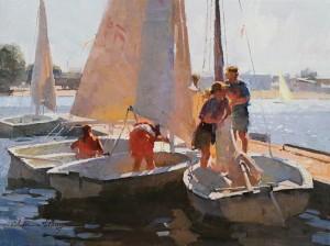 Calvin Liang, Setting sails in Newport Beach, oil, 12 x 16.