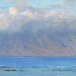 David Santillanes, Lana'i Emerges, oil, 10 x 20.