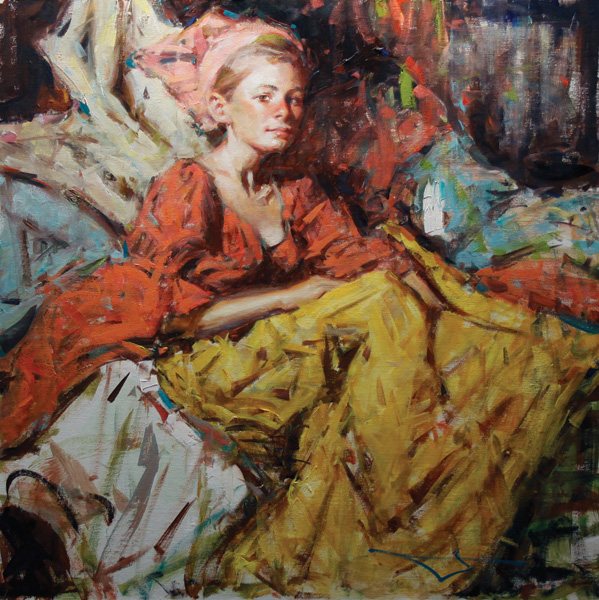 Kevin Beilfuss, Russian Girl, oil, 30 x 30.