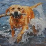 Nancy Haley, Sancho at Lost Lake, oil, 10 x 10.