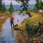 Brett James Smith, Riverside Camp, oil, 30 x 40.