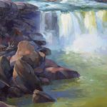 Kathleen Hudson, Morning on the Falls, oil, 14 x 11.