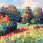 Trisha Adams, Hay Rolls, oil on canvas, 30 x 30.