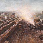 Todd A. Williams, Long Pine Railroad Yard, 1911, Brown County, oil, 10 x 16.
